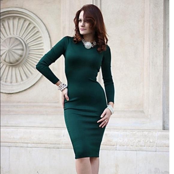 4d405d6c5560 Zara Olive long sleeve bodycon dress. M_5a74fcda00450fa35689ca6f